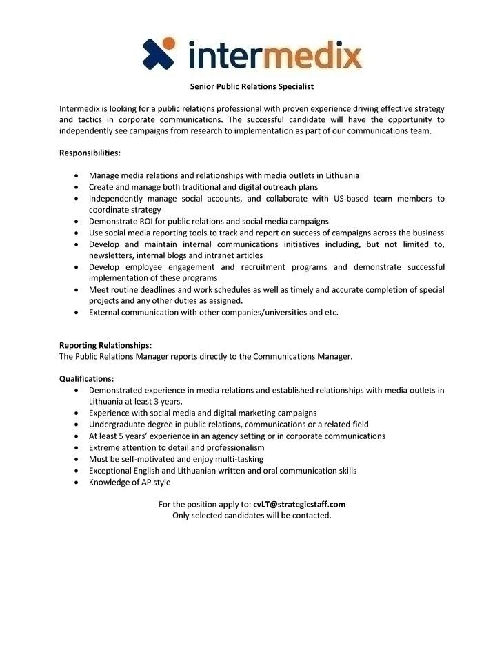 Public Relation Specialist Resume 20.07.2017