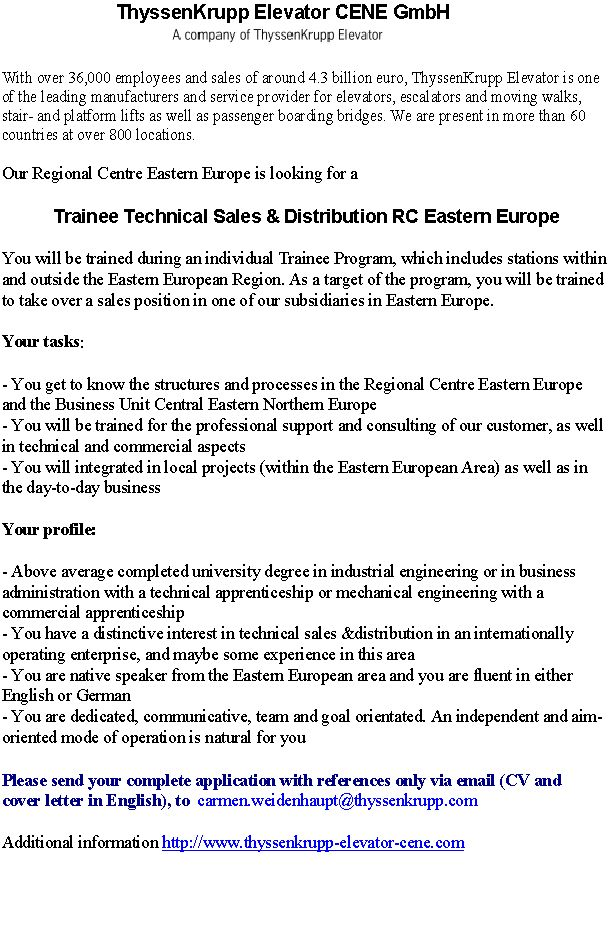 CV Market´s client Trainee Technical Sales & Distribution RC Eastern Europe