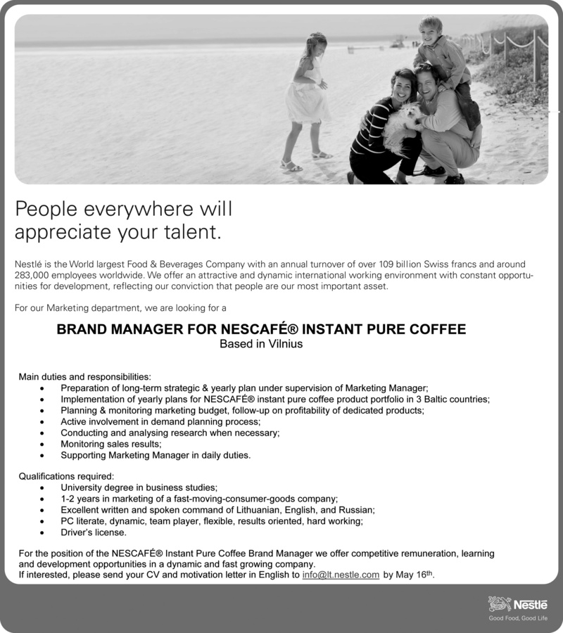 CV Market client Brand manager for Nescafe instant pure coffee