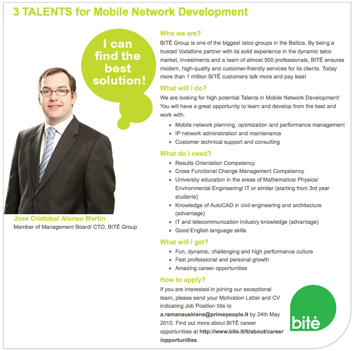 CV Market client Mobile Network Developers
