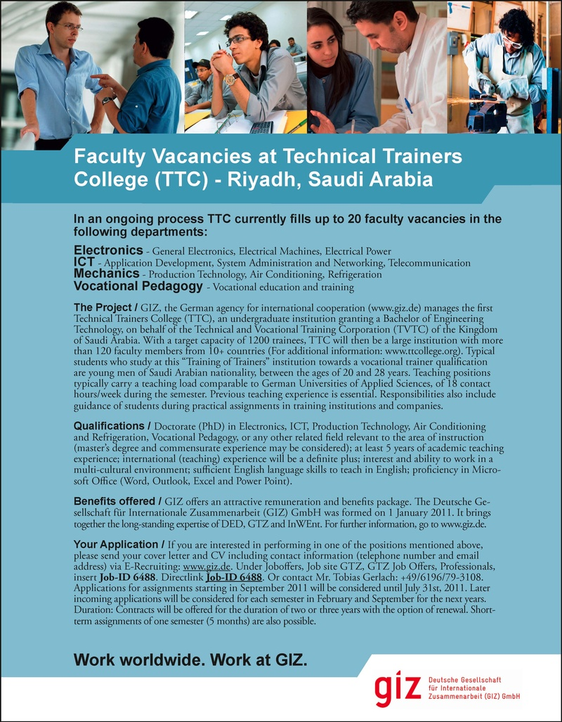 CV Market´s client Faculty Vacancies at Technical Trainers College
