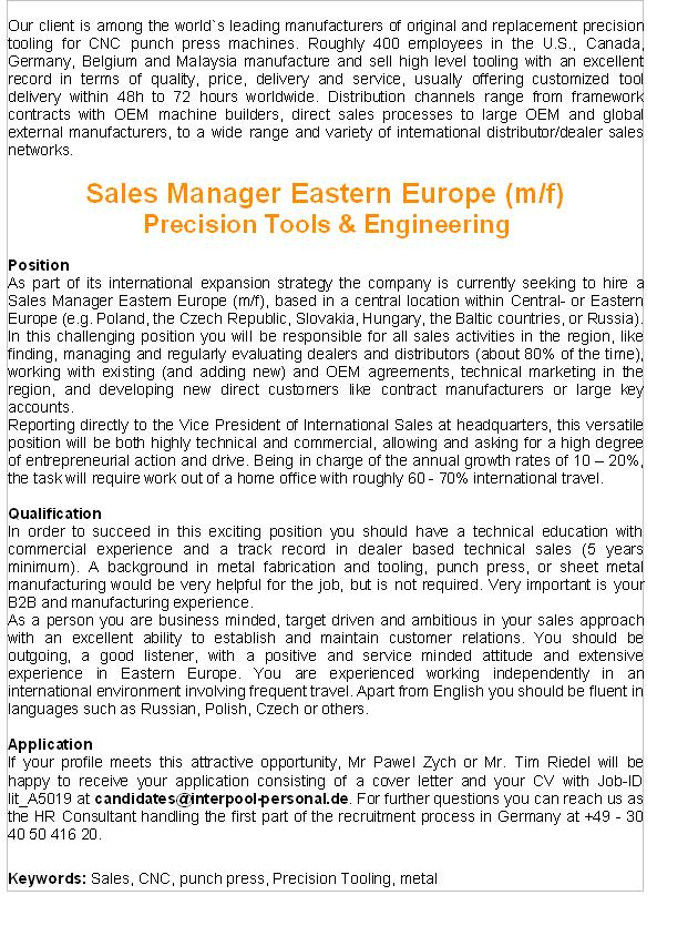 CV Market´s client Sales Manager Eastern Europe