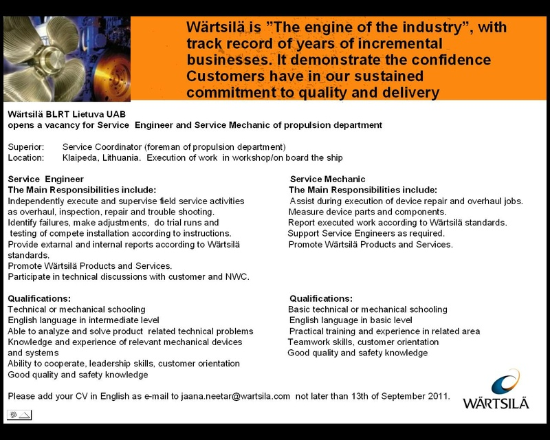 CV Market´s client Service Engineer and Service Mechanic of propulsion department