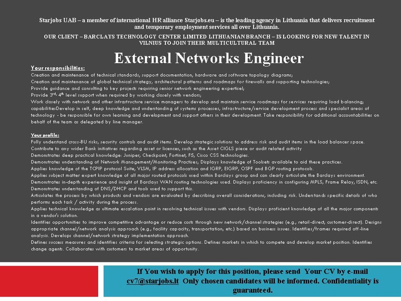 CVMarket.lt klientas External Network Engineer