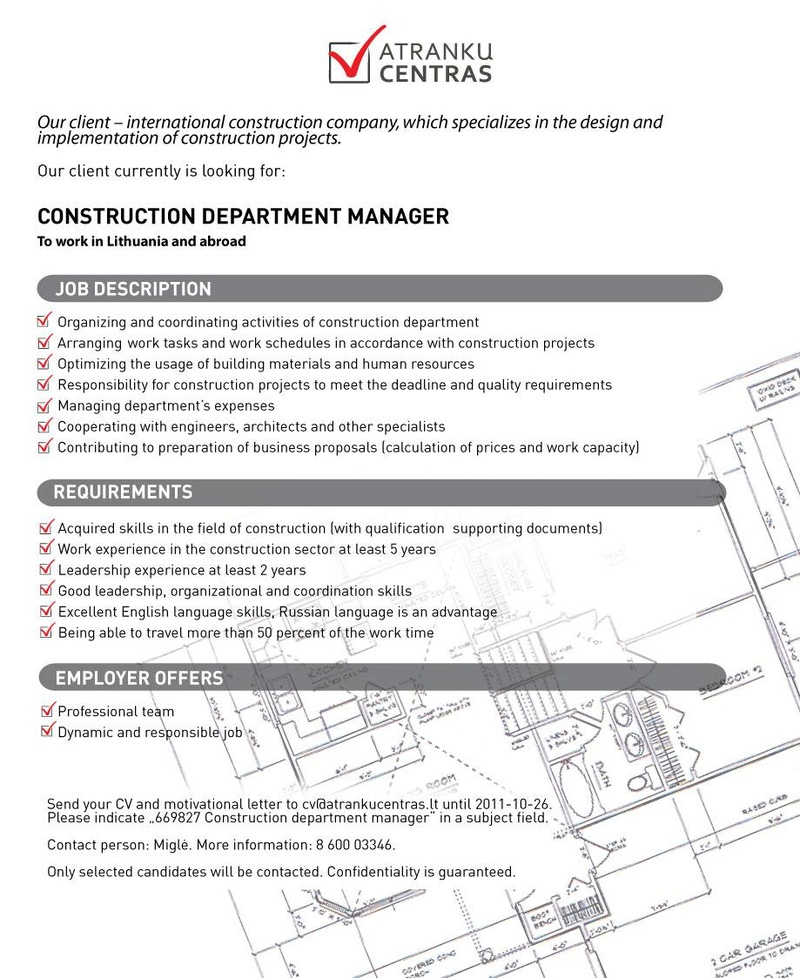CV Market´s client Construction department manager 669827