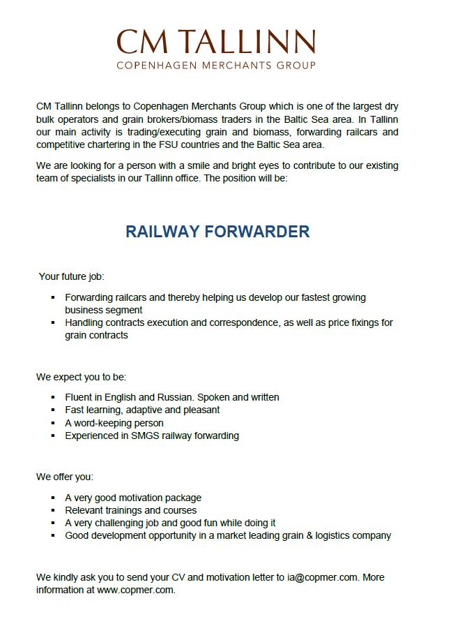 CV Market client RAILWAY FORWARDER