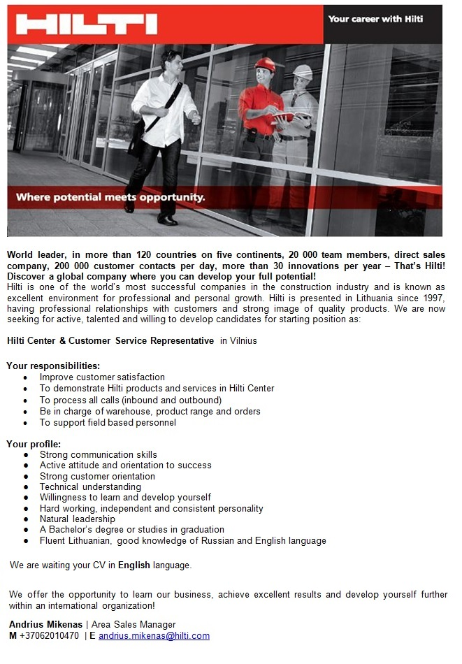CVMarket.lt klientas Hilti Center & Customer Service Representative