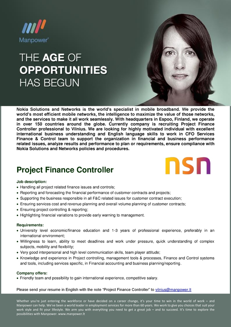 CV Market client Project Finance Controller