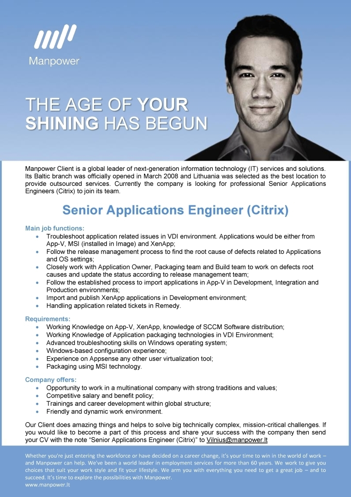 CV Market´s client Senior Applications Engineer (Citrix)