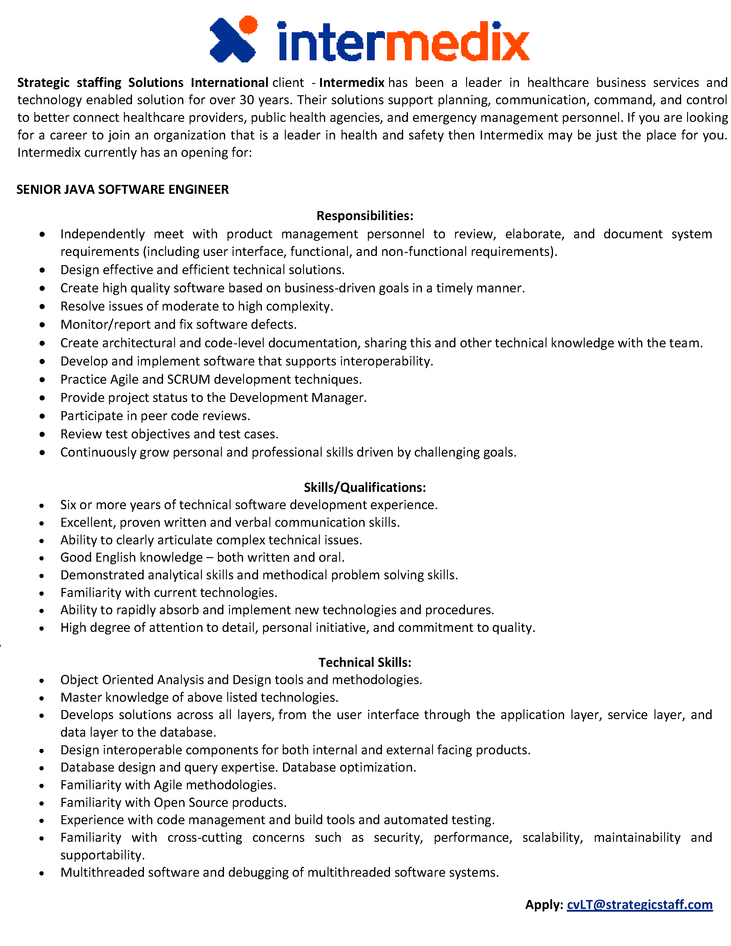 CV Market´s client Senior Java Software Engineer
