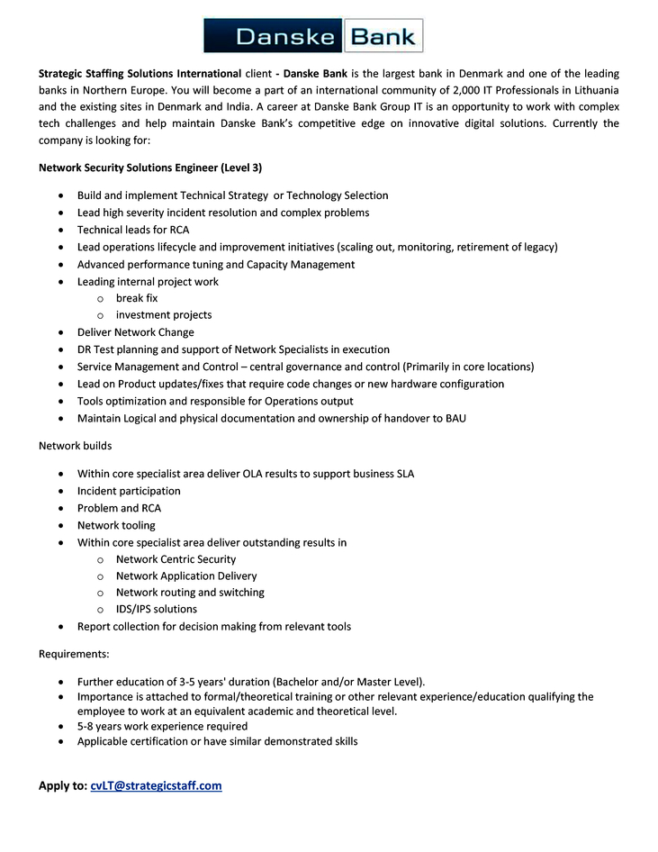 CV Market´s client Network Security Solutions Engineer (Level 3)
