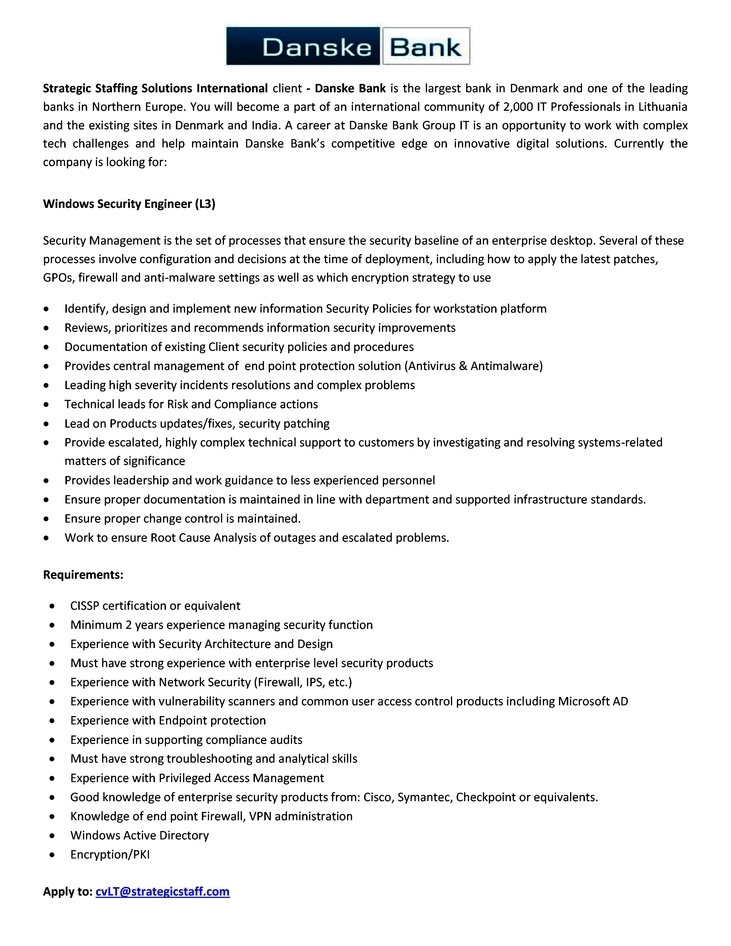 CV Market´s client Windows Security Engineer (Level 3)