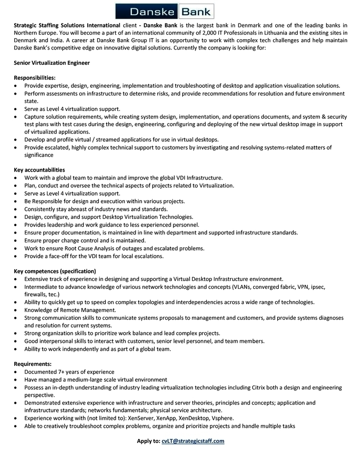 CV Market´s client Senior Virtualization Engineer (Level 4)