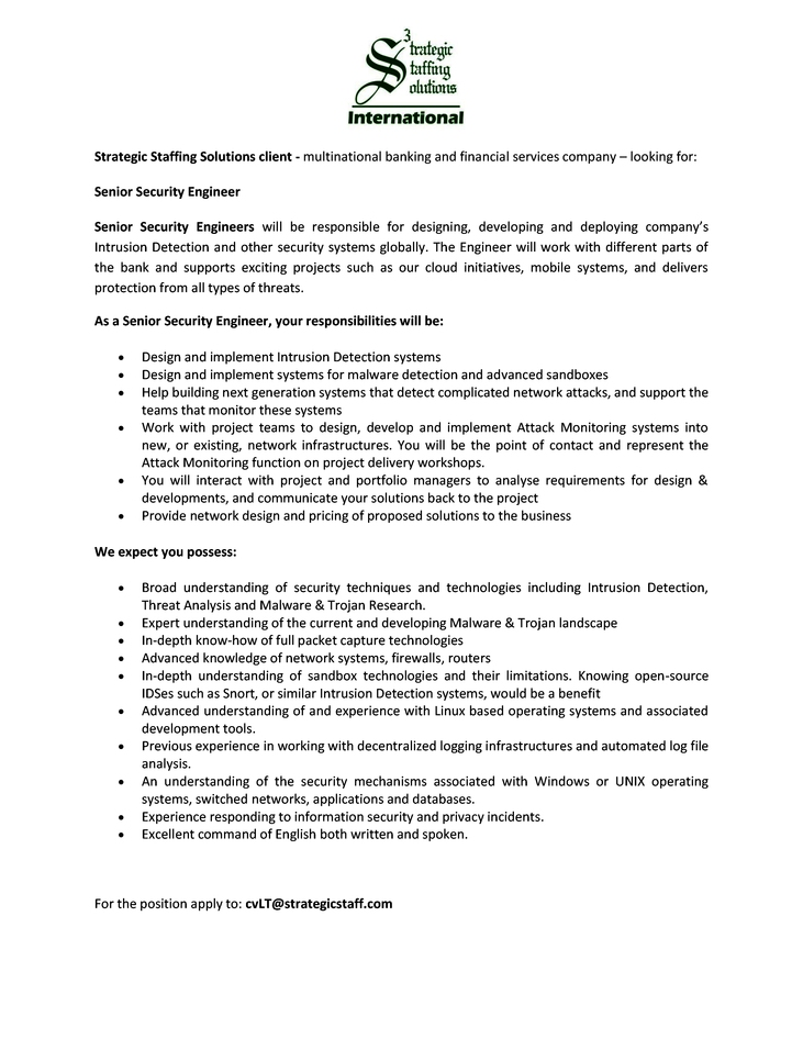 CV Market´s client Senior Security Engineer
