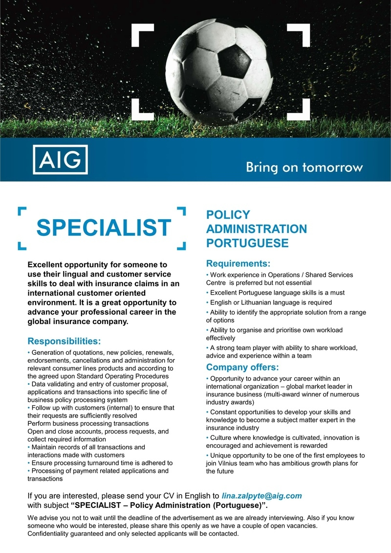 CV Market´s client Specialist - Insurance Policy Administration (Portuguese)