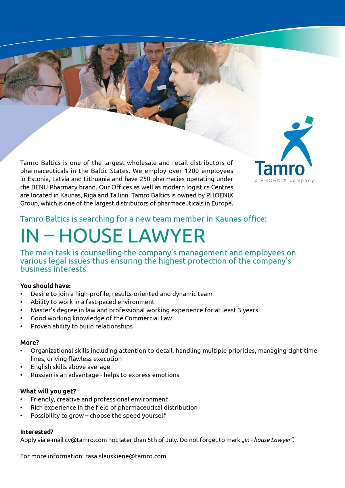 CV Market client In- House Lawyer