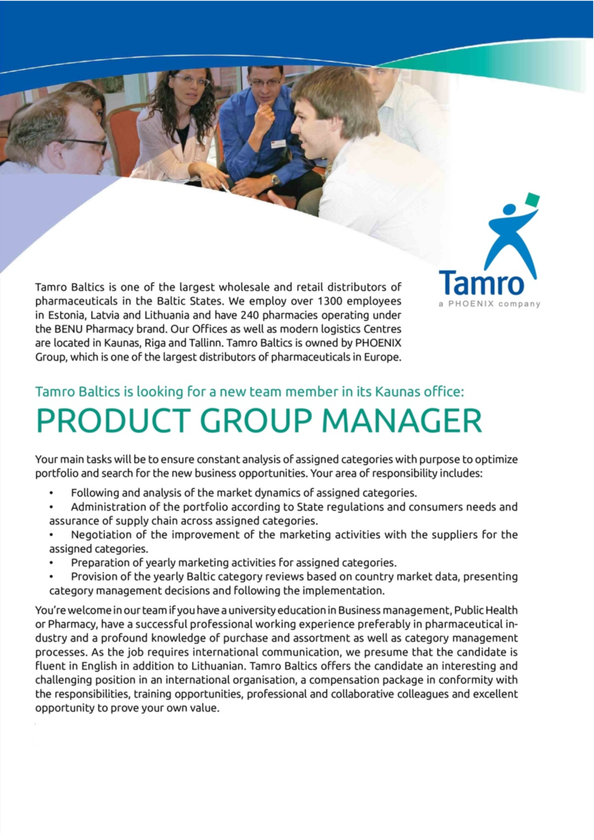 CV Market´s client Product Group Manager